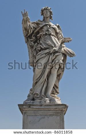 Angel  on Sant Angelo Bridge - stock photo