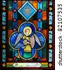 angel on stained glass - stock photo