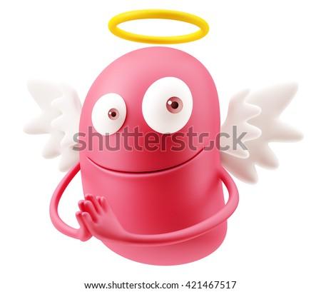 Angel Praying Emoji Cartoon. 3d Rendering. - stock photo