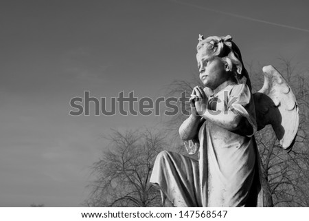 Angel praying on one knee in black and white - stock photo