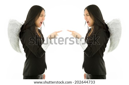 Angel sides of a young Asian businesswoman scolding each other isolated on white background - stock photo