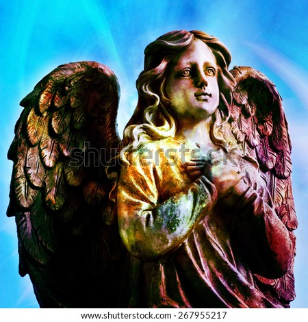 angel statue in artistic colors - stock photo