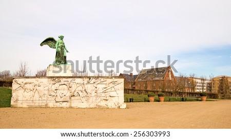 Angel statue near Langelinie. Shipping monument for the fallen sailors of the World War I. Was built in 1928. Copenhagen. Denmark - stock photo