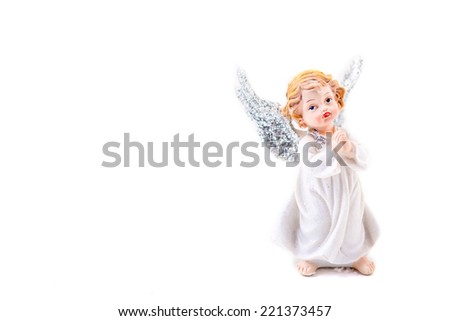 angel text desk xmas star - stock photo