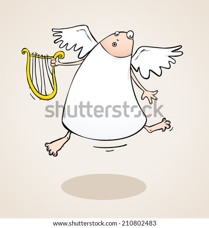 Angel with a discount harp cartoon character illustration on sepia background - stock photo