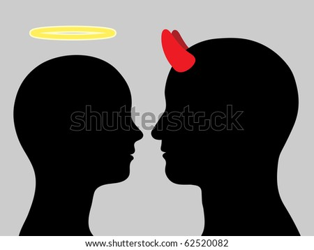 Angel woman and man devil head silhouette in love - stock photo
