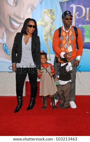 "Angela Bassett, husband Courtney B. Vance, son Slater and daughter Bronwyn at the ""The Princess And The Frog"" World Premiere, Walt Disney Studios, Burbank, CA. 11-15-09 - stock photo"