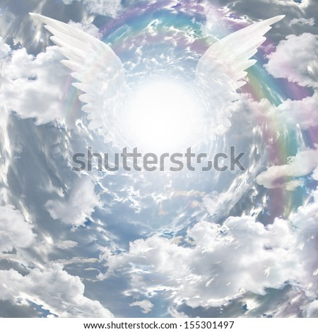 Angelic presence in tunnel of light - stock photo