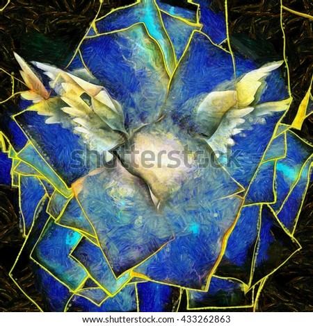 Angelic Wings Abstraction 3D Render - stock photo