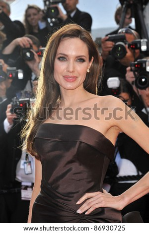 """Angelina Jolie at the gala premiere of Brad Pitt's new movie """"The Tree of Life"""" in competition at the 64th Festival de Cannes. May 16, 2011  Cannes, France Picture: Paul Smith / Featureflash - stock photo"""