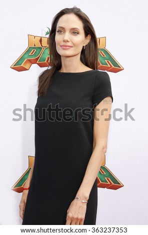 Angelina Jolie at the Los Angeles premiere of  'Kung Fu Panda 3' held at the TCL Chinese Theater in Hollywood, USA on January 16, 2016. - stock photo