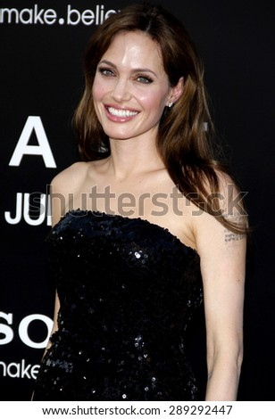 """Angelina Jolie at the Los Angeles premiere of 'Salt"""" held at the Grauman's Chinese Theatre in Hollywood on July 19, 2010.  - stock photo"""