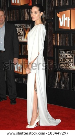 Angelina Jolie, wearing a Max Azria gown, at The 14th Annual Critics' Choice Awards, Santa Monica Civic Auditorium, Santa Monica, CA, January 08, 2009ection - stock photo