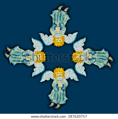 Angels.Figures of angels with wings on a blue background.Ornamental compositions. - stock photo