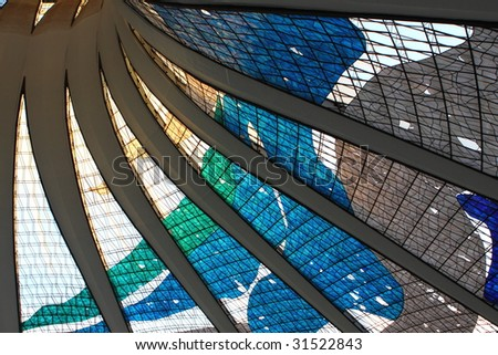 Angels in a futuristic cathedral - stock photo