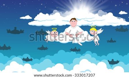 Angels in heaven and deceased - stock photo