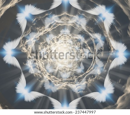 Angels in tunnel of clouds - stock photo