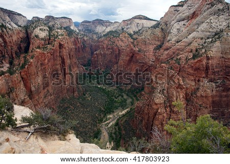 Angels Landing in Zion National Park - stock photo