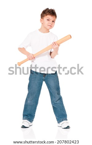 Anger boy with wooden baseball bat, isolated on white background - stock photo