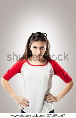 Anger young business woman in glasses strong screaming with wild open mouth and holding head the hands - stock photo