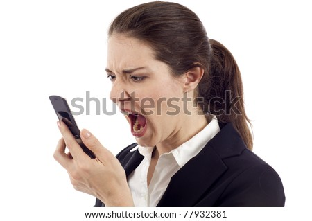 Anger - Young business woman shouting at the mobile phone isolated over white background - stock photo
