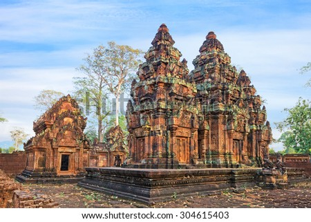 Angkor Banteay Srei temple detailed carvings, Cambodia - stock photo