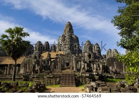Angkor Thom with blue sky - stock photo