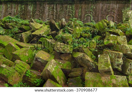 Angkor Wat - a giant Hindu temple complex in Cambodia, dedicated to Lord Vishnu. Trees in the angkor park. - stock photo