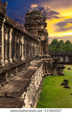 Angkor Wat at sunset - stock photo