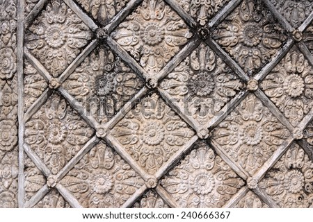 Angkor Wat floral art -  Khmer temple in Siem Reap province, Cambodia, Southeast Asia. UNESCO World Heritage Site. - stock photo