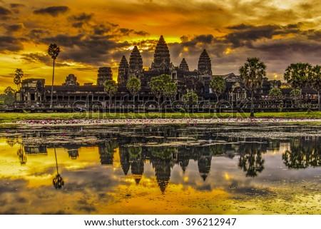 Angkor Wat in Cambodia during sunrise - stock photo