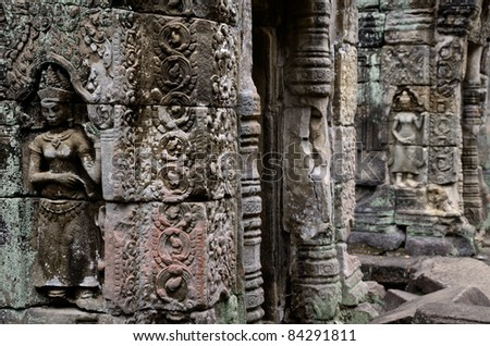 Angkor Wat statues and high relief - stock photo