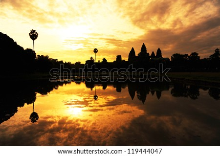 Angkor Wat Temple at Sunrise - stock photo