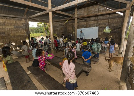 Angkor Wat village, SIEM REAP province, CAMBODIA - 7 Jan 2015: A classroom at a rural primary school in a small village just outside the famous Angkor Wat Temple complex. - stock photo