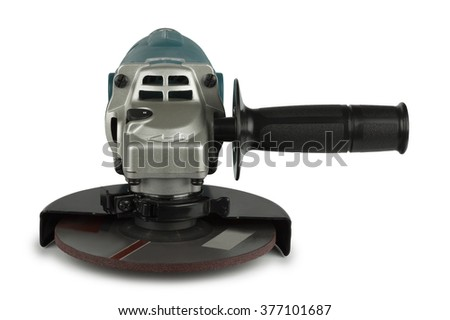angle grinders on a white background in the Studio - stock photo