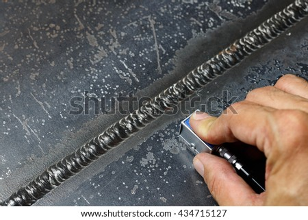 angle probe scan internal defect of weldment - stock photo