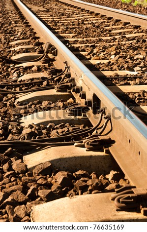 Angle shot of a rusty but still usable railway - stock photo