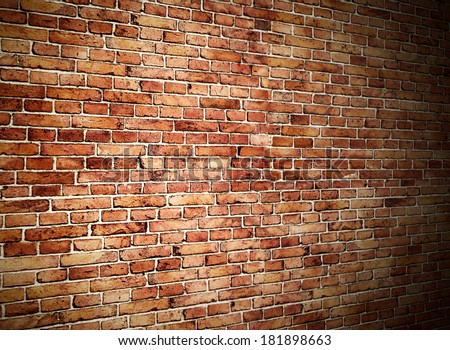 angle view of red brick wall - stock photo