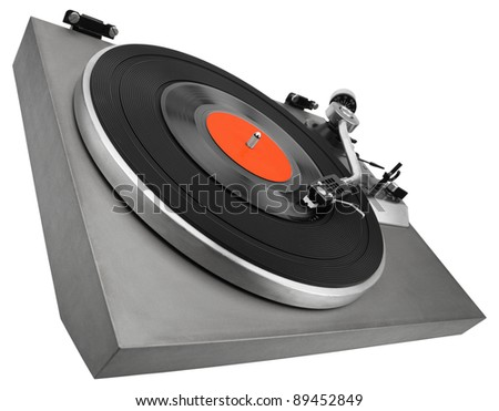 Angle view of vintage record player isolated on white with clipping path - stock photo
