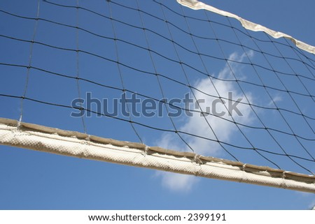 Angled shot of a volleyball net - stock photo