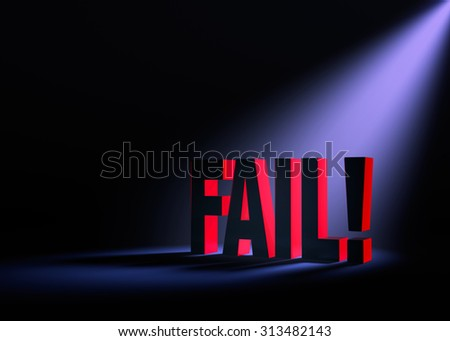 "Angled spotlight back-lighting and revealing red ""FAIL"" on a dark background. - stock photo"