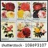 ANGOLA - CIRCA 2000: Collection stamps shows roses, circa 2000 - stock photo