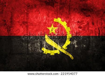 Angola Flag on grunge paper - stock photo