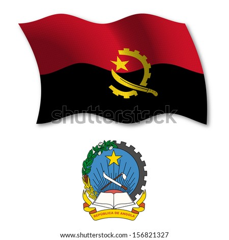 angola shadowed textured wavy flag and coat of arms against white background, art illustration - stock photo