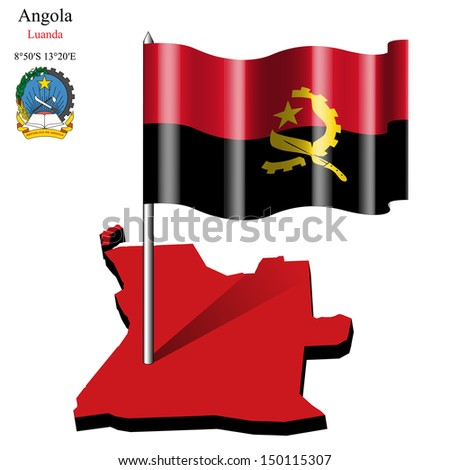 angola wavy flag over map against white background, abstract art illustration - stock photo