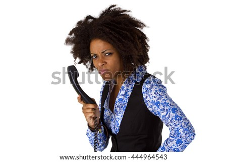 Angry african american woman with handset - isolated on white background - stock photo