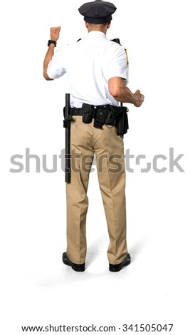 Angry African young man with short black hair in uniform shaking fist - Isolated - stock photo