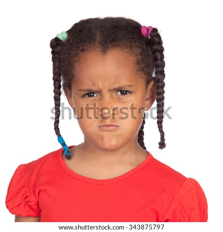 Angry afroamerican girl with braids isolated on a white background - stock photo