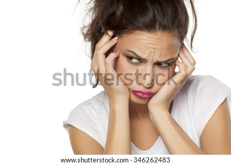 angry and thoughtful of a beautiful young woman - stock photo