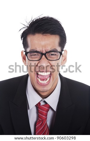 Angry Asian businessman screaming isolated on white - stock photo